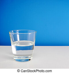 Glass of water on white table 1 - Half empty or half full...