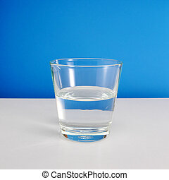 Glass of water on white table 2 - Half empty or half full...