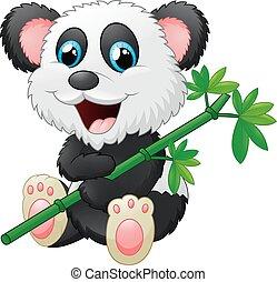 Cute panda cartoon eating bamboo