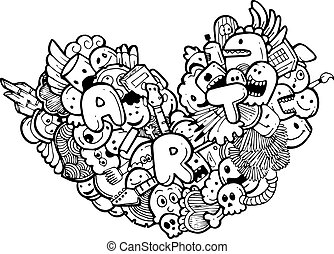 heart doodle illustration - vector illustration of