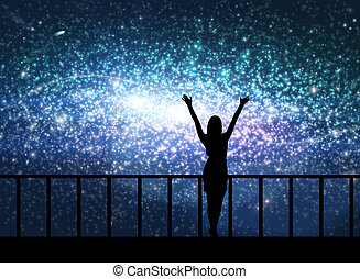 Silhouette of young woman in the cosmos - Silhouette of...