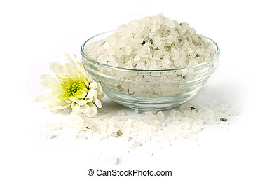 Bath sea salt with flower for relaxation on white background