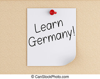 3d Learn Germany, word on post-it over cork. - 3d renderer...