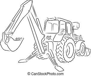 Outline of backhoe loader, vector illustration - Hand-drawn...