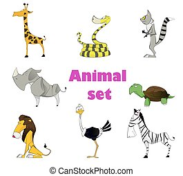Cute animal set - Vector illustration of cute animal set ....