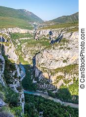 Valley of Verdon Gorge with Verdon river - France