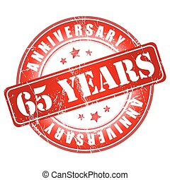 65 years anniversary stamp Vector illustration