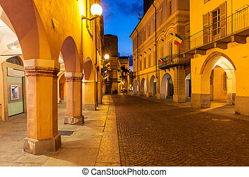 Old town of Alba at evening.