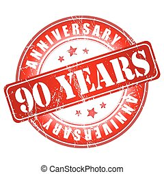 90 years anniversary stamp Vector illustration