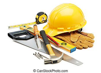 carpentry tools - various type of carpentry tools against...