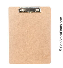 Back view of clipboard isolated on white