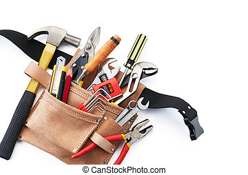 tool belt with tools on white background from top view