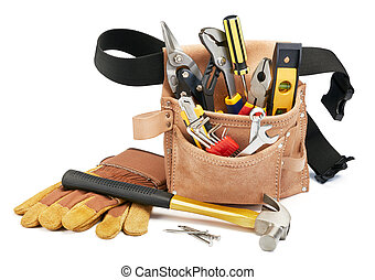 tool belt and tools - variety of tools with tool belt on...