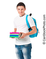 Student boy - Young student with backpack carrying books,...