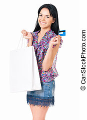 Woman shopping - Portrait of young happy smiling woman with...