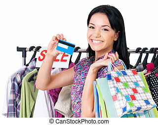 Woman shopping - Shopping woman happy smiling holding credit...