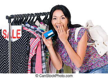 Woman shopping - Shopping woman holding credit card or gift...