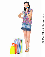 Woman shopping - Beautiful young woman with shopping bags...