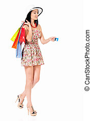 Woman shopping - Shopping woman happy smiling holding...