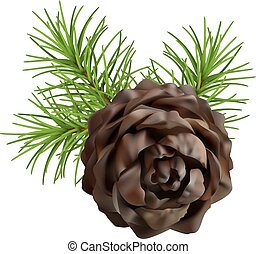 Christmas branch hanging pine cone - Christmas tree branch...