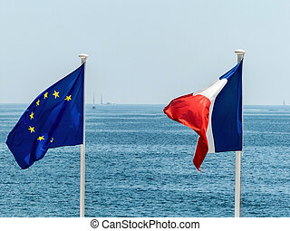 eu and french flags - flags of eu and france, symbol photo...