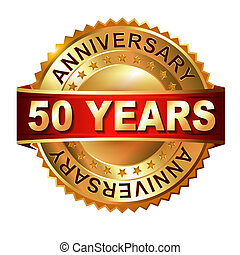 50 years anniversary golden label with ribbon. Vector...
