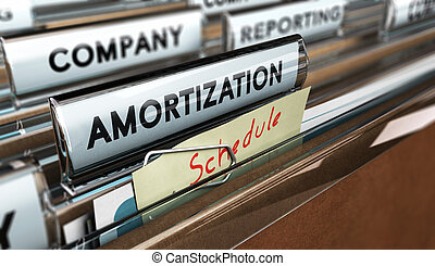 Amortization Schedule - Close up on a file tab with the word...