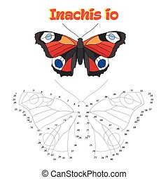 Educational game connect dots to draw butterfly -...