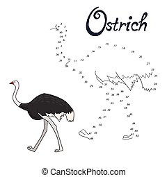 Educational game connect dots draw ostrich bird -...