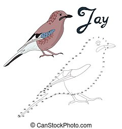 Educational game connect dots to draw jay bird - Educational...