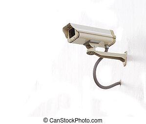 セキュリティー, カメラ,  CCTV, 白, 背景