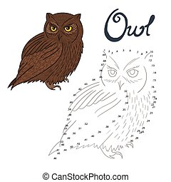 Educational game connect dots to draw owl bird - Educational...