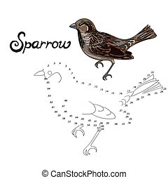 Educational game connect dots to draw sparrow bird -...