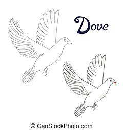 Educational game connect dots to draw dove bird -...