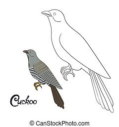 Educational game coloring book cuckoo bird vector -...