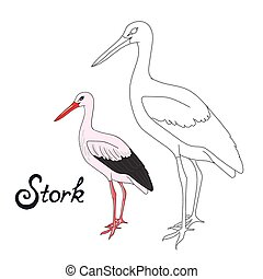 Educational game connect dots to draw stork bird -...