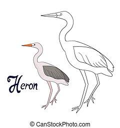 Educational game coloring book heron bird cartoon doodle...