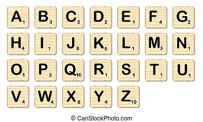 Scrabble - The complete set of letters in a set of scrabble