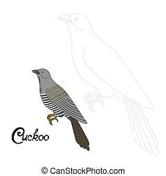 Educational game connect dots to draw cuckoo bird -...