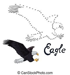 Educational game connect dots to draw eagle bird -...