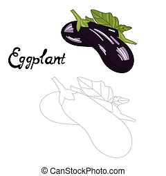 Educational game connect dots draw eggplant vector -...