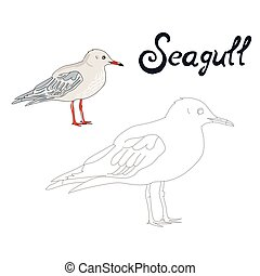 Educational game connect dots draw seagull bird -...