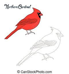 Educational game connect dots draw cardinal bird -...