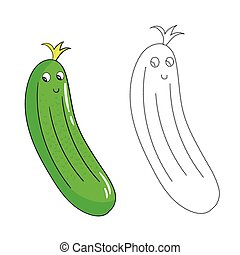 Educational game connect dots draw cucumber vector -...