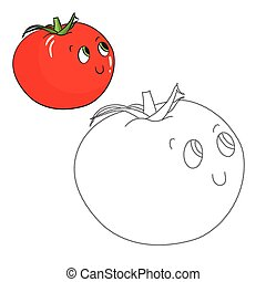 Educational game connect dots draw tomato vector -...