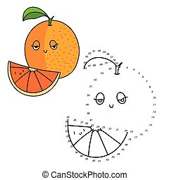 Educational game connect dots draw orange vector -...