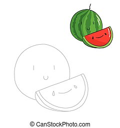 Educational game connect dots draw watermelon - Educational...