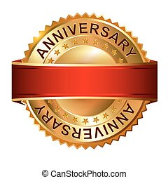 Anniversary golden label with ribbon.  Vector illustration.