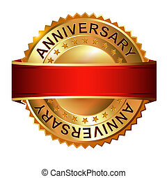 Anniversary golden label with ribbon. 
