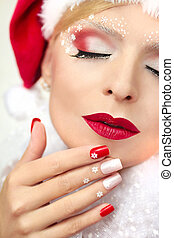 New year's manicure and makeup. - New year's manicure and...